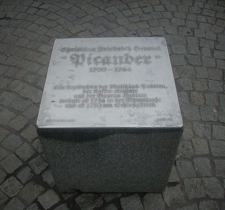 Мемориальный куб в честь Пикандера, установленный в Лейпциге