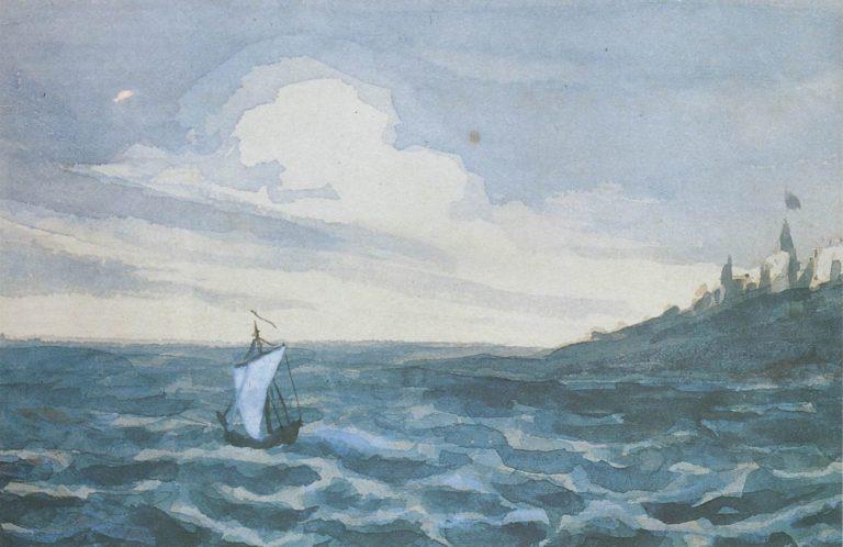Морской вид с парусной лодкой. 1828-1831