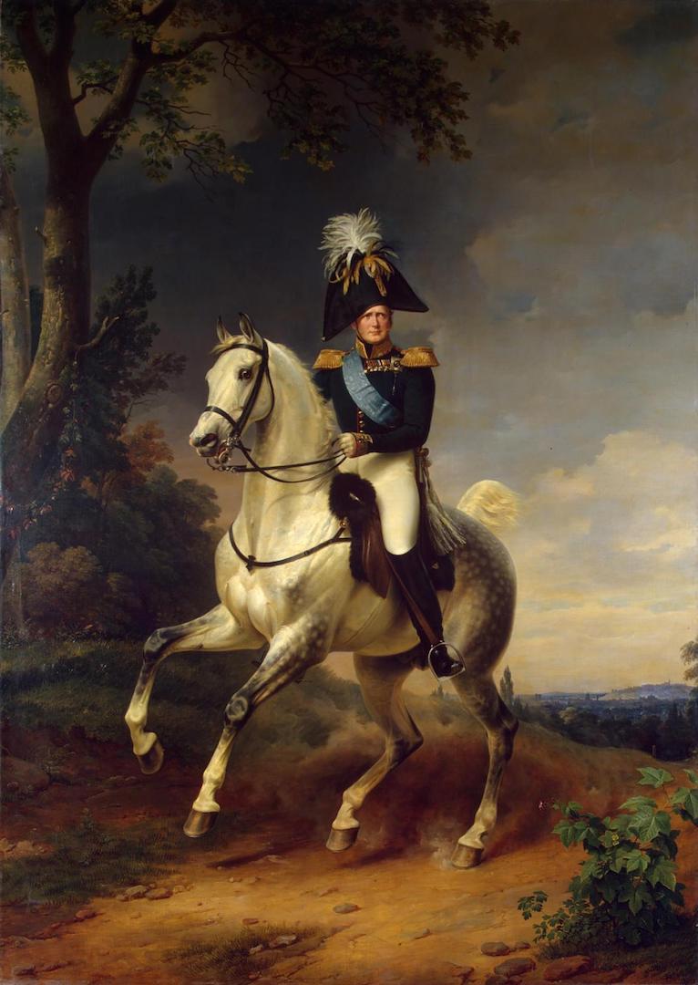 Портрет Александра I (1777 — 1825) верхом на коне. Германия, 1837