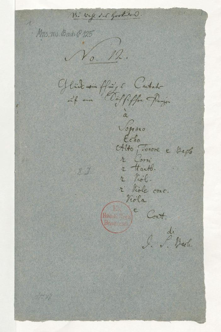 Титульный лист светской кантаты BWV 213