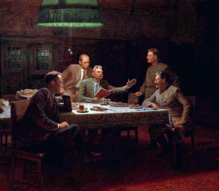А.М. Горький читает И.В. Сталину, В.М. Молотову и К.Е. Ворошилову свою сказку «Девушка и смерть» 11 октября 1931 г. 1949