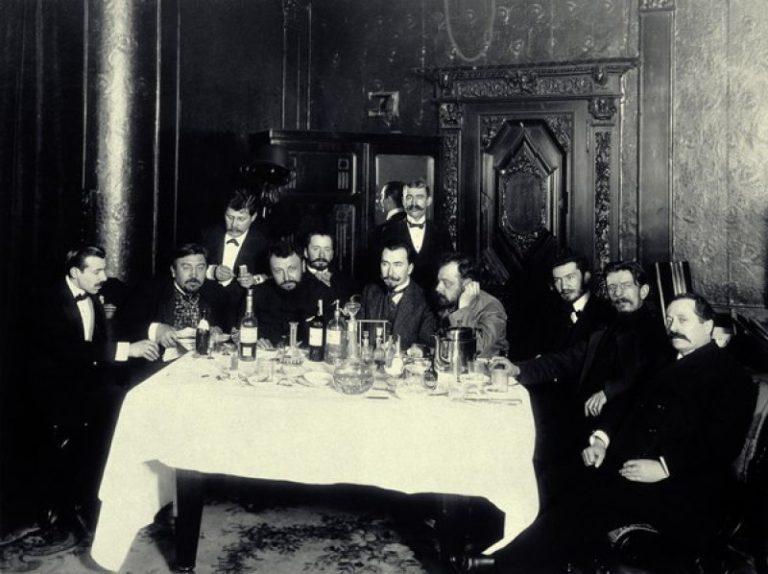 Александр Куприн с друзьями в ресторане. Санкт-Петербург, 1913 год
