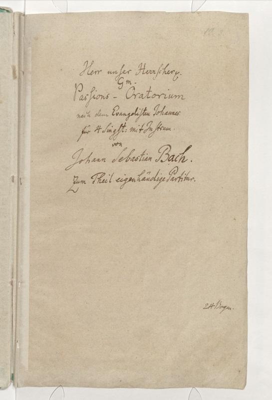 BWV 245. Страсти по Иоанну. Титульный лист