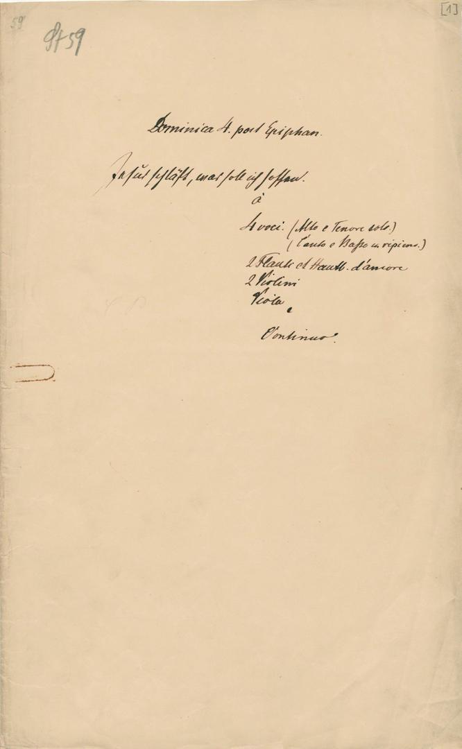 BWV 81. D-B Mus. ms. Bach St 59. Titelumschlag (Schreiber S. W. Dehn)