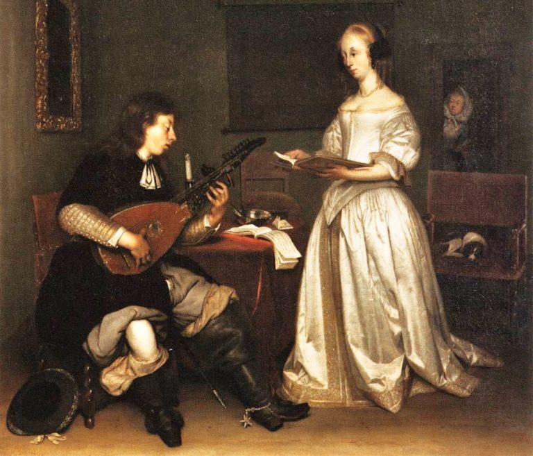 Дуэт. Певица и игрок на теорбе. 1669