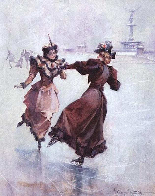 Две девушки, катающиеся на коньках в Центральном парке. 1892