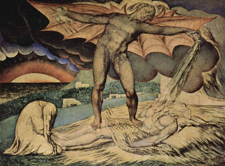 Дьявол, поражающий Иова проказой. 1826-1827