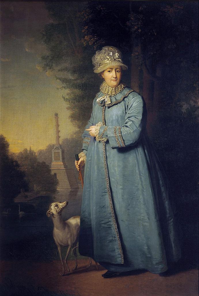 Екатерина II на прогулке в Царскосельском парке у Чесменской колонны. 1794