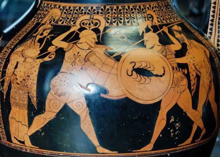 Гоплиты с Афиной и Гермесом. Ок. 530 г. до н.э.