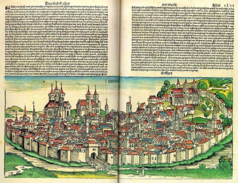 Город Эрфурт, где жил Тобиас Леммерхирт, дядя Баха по материнской линии. 1493