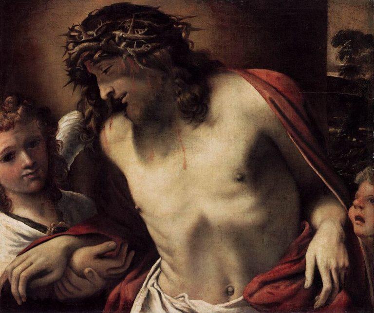 Христос в терновом венце, поддерживаемый ангелами.  Деталь.1585-1587