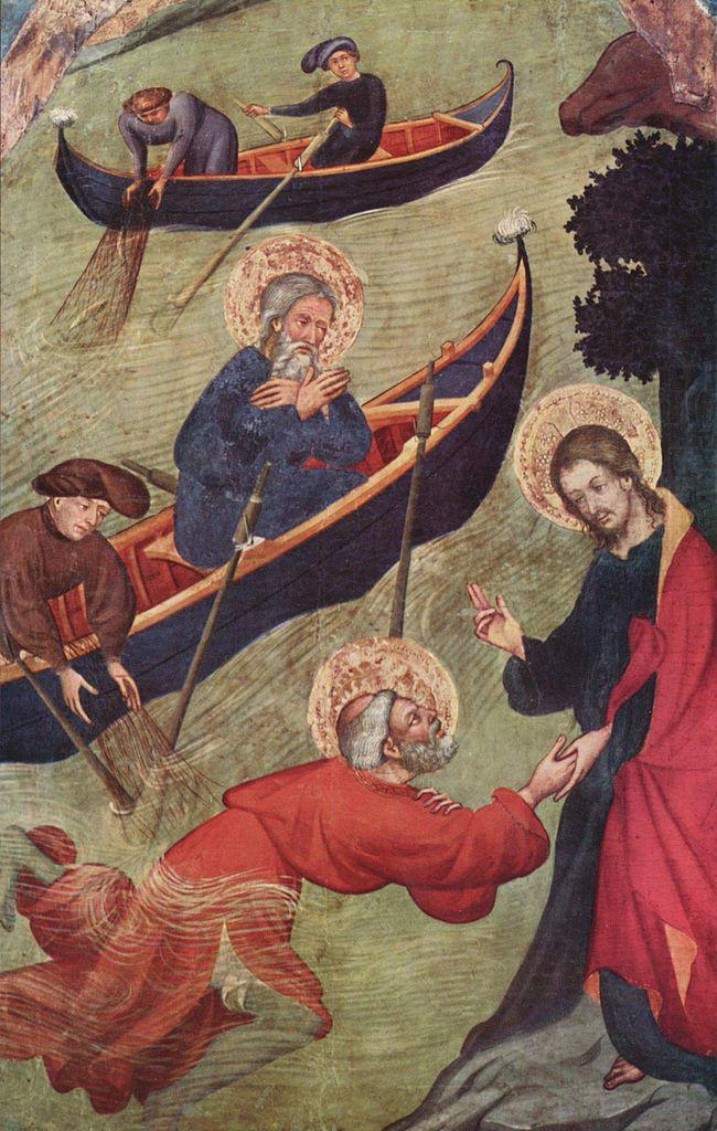 Иисус достает Петра из воды (Явление ученикам у Тивериадского озера). 1411