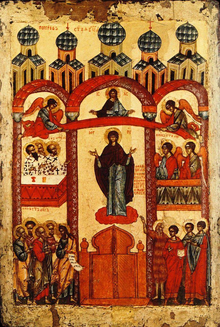 Икона «Покров Пресвятой Богородицы». Новгород, 1401—1425 гг.