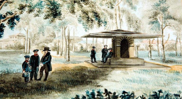 Лицейский садик в Царском Селе, вид «Грибка». 1820