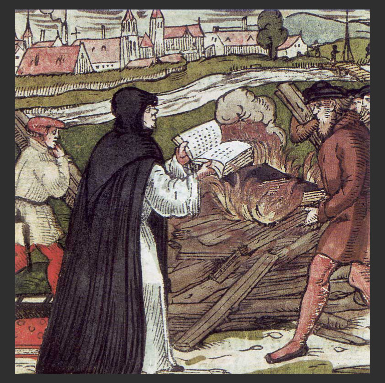 Лютер сжигает папскую буллу. 1557