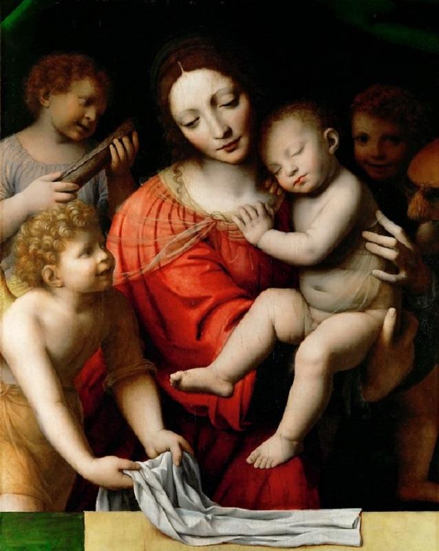Мадонна со спящим младенцем и тремя ангелами. Ок.1525