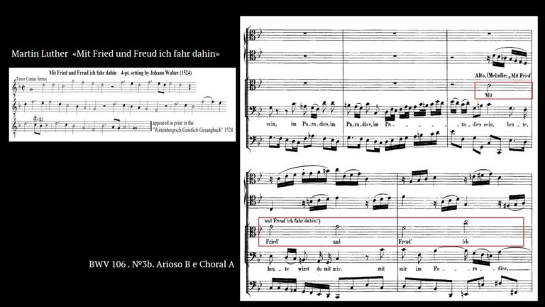 Мелодия песни Мартина Лютера Mit Fried und Freud ich fahr dahin и фрагмент Actus tragicus Баха