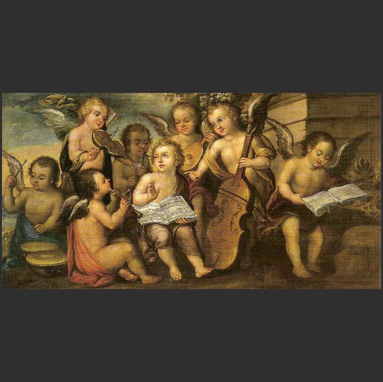 Младенец Иисус с ангелами-музыкантами