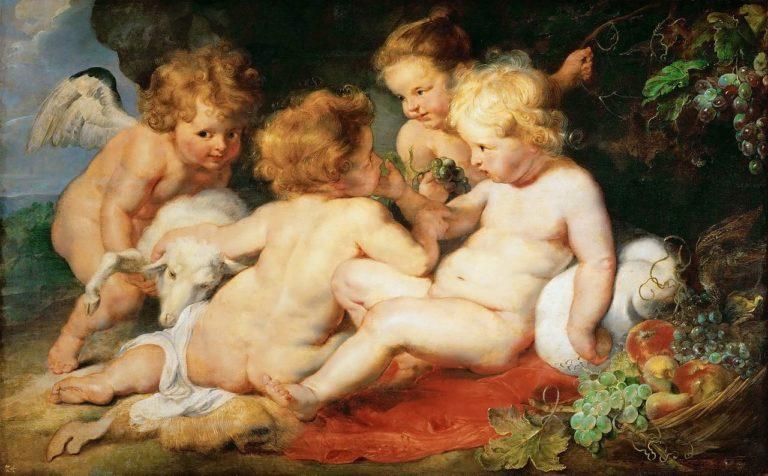 Младенцы Христос и Иоанн Креститель с двумя ангелами. 1615-1620