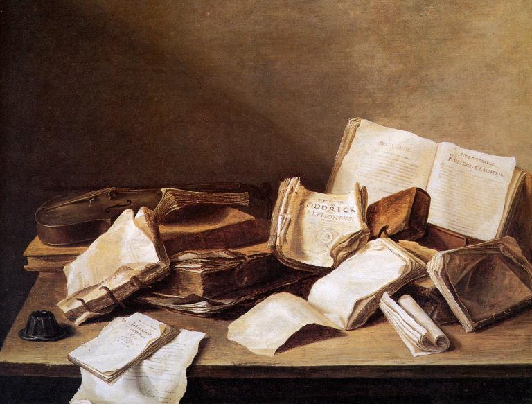Натюрморт с книгами и скрипкой. 1628
