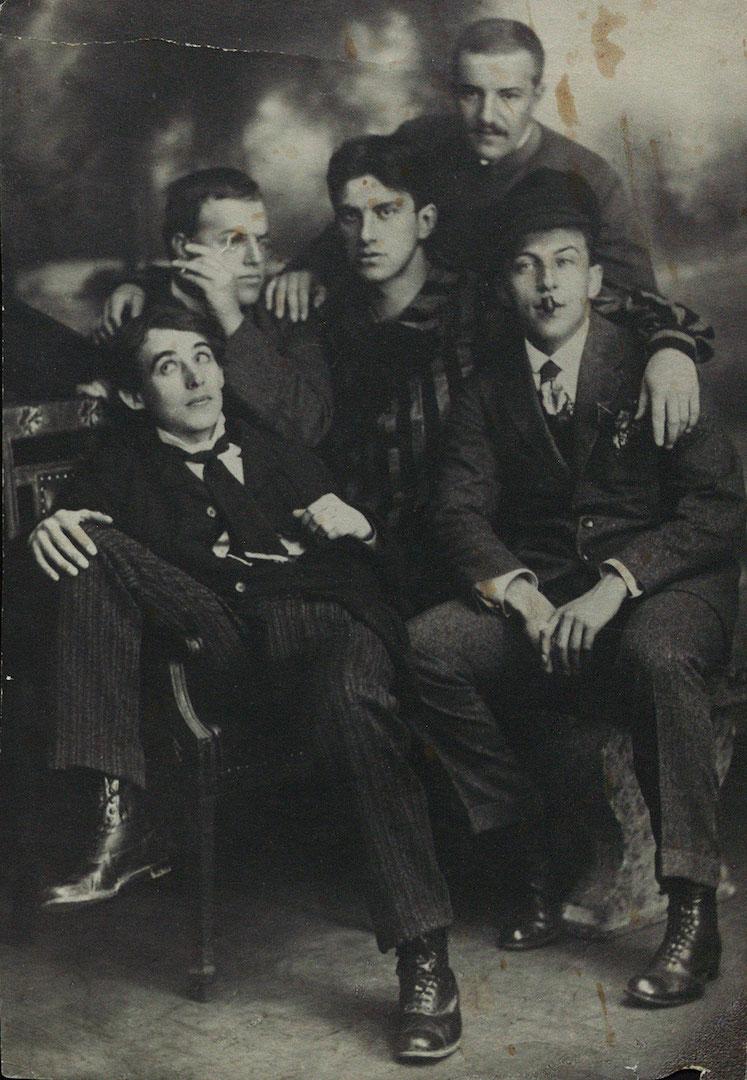 Николай Давидович Бурлюк (1890 — 1920) с В.В. Маяковским, А.Е. Крученых, Д.Д. Бурлюком и Б.К. Лившицем