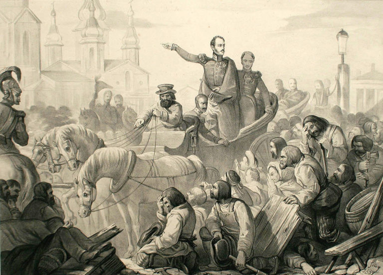 Николай I во время холерного бунта на Сенной площади. До 1856 г.