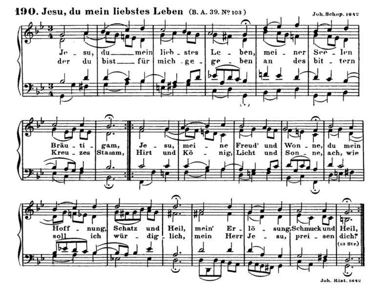Нотный образец хорала Иоганна Риста «Jesu, du mein liebstes Leben». 1642