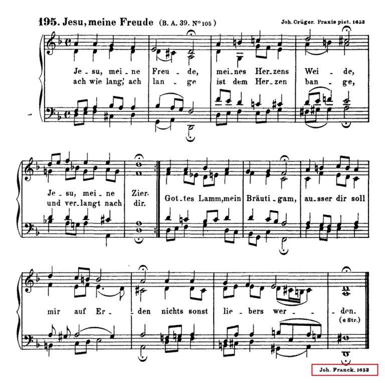 Нотный образец хорала Иоганна Франка Jesus meine freude