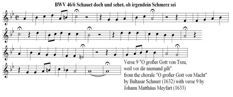 Нотный образец хорала «O großer Gott von Macht» Иоганна Маттеуса Мейфарта. 1633