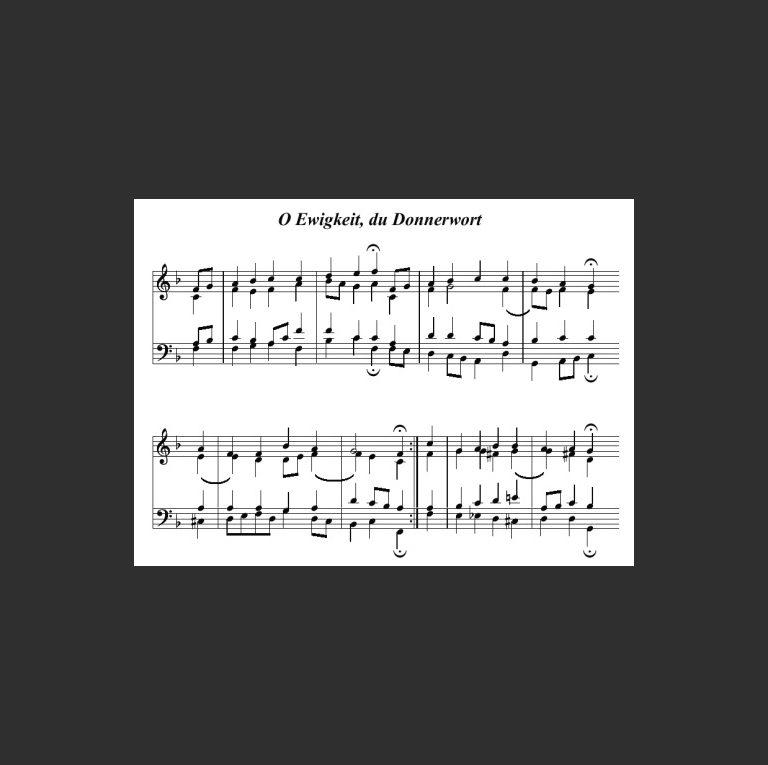 Нотный образец лютеранской песни Иоганна Риста «O Ewigkeit,  du Donnerwort». 1642