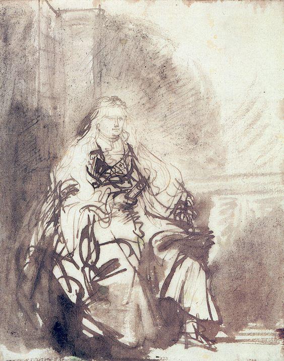 Один из эскизов к «Еврейской невесте» Рембрандта