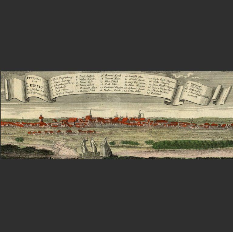 Панорама Лейпцига. Гравюра XVIII в.