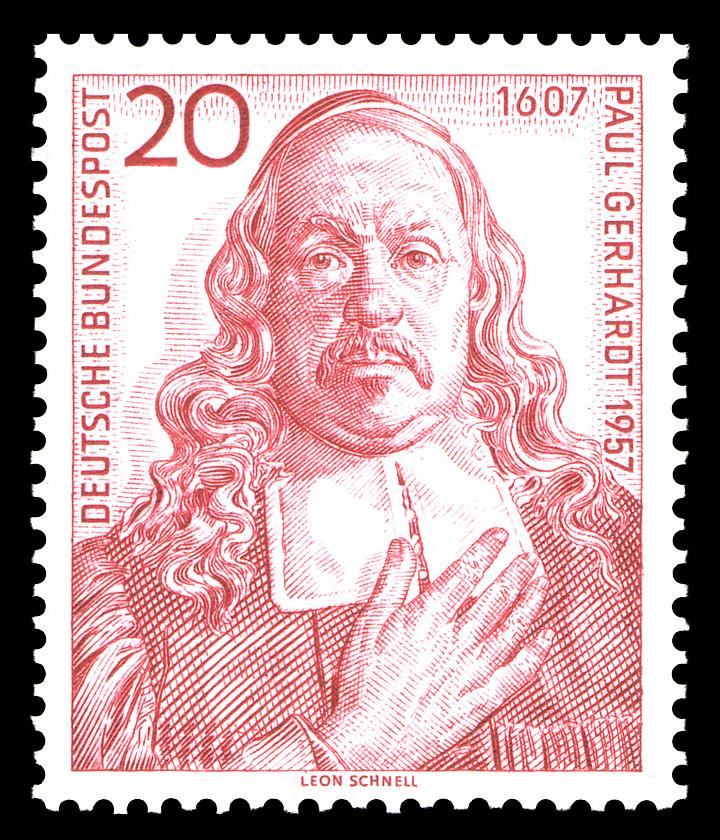 Пауль Герхардт (нем. Paul Gerhardt, 1607 — 1676) на почтовой марке ФРГ 1957 года