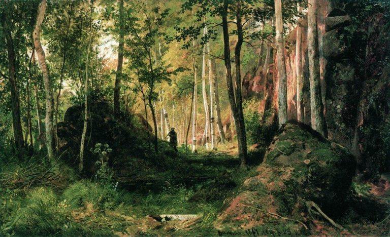 Пейзаж с охотником. Остров Валаам. 1867