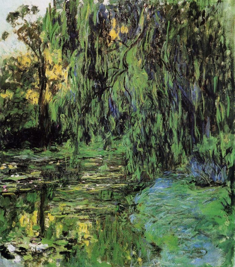 Плакучая ива и пруд с водяными лилиями. 1916-1919