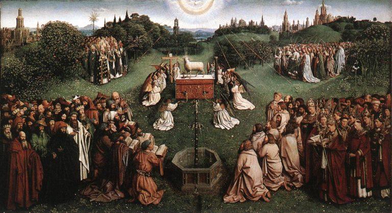 Поклонение Агнцу. Панель Гентского алтаря. 1432