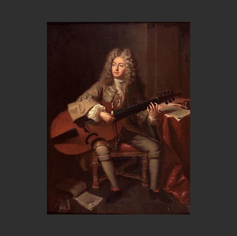 Портрет композитора и музыканта Мартэна Марэ с виолой да гамба. 1704