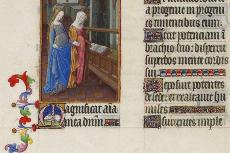 Посещение Елизаветы. Миниатюра с текстом стиха «Величит душа моя Господа». XV в.