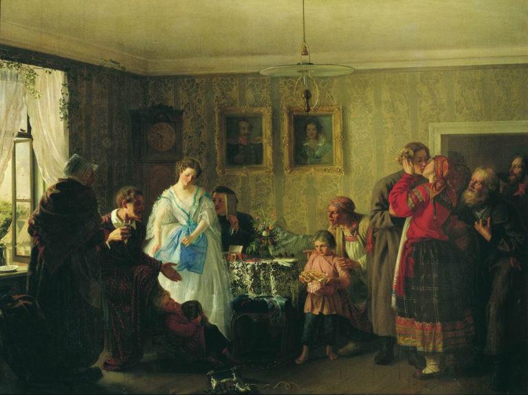 Поздравление молодых в доме помещика. 1861