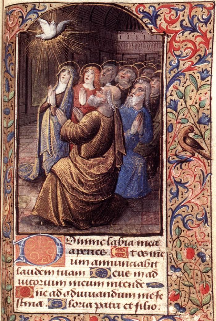 Пятидесятница. Миниатюра бревиария. Около 1490
