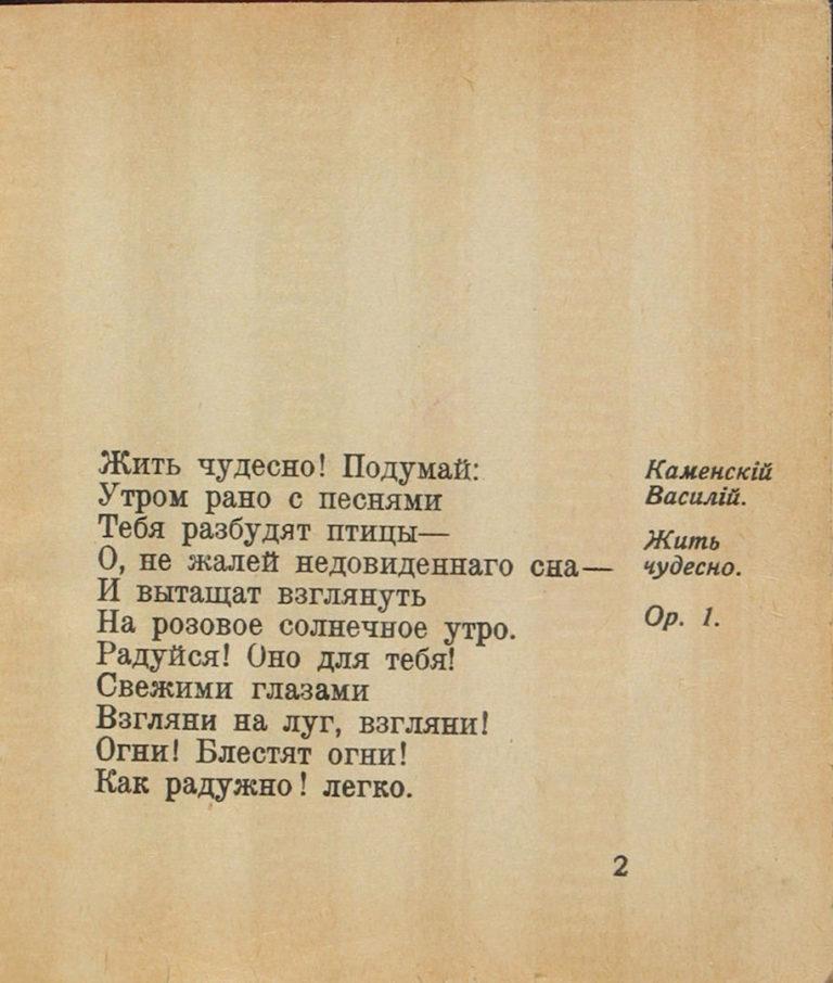 Василий Каменский. Жить чудесно