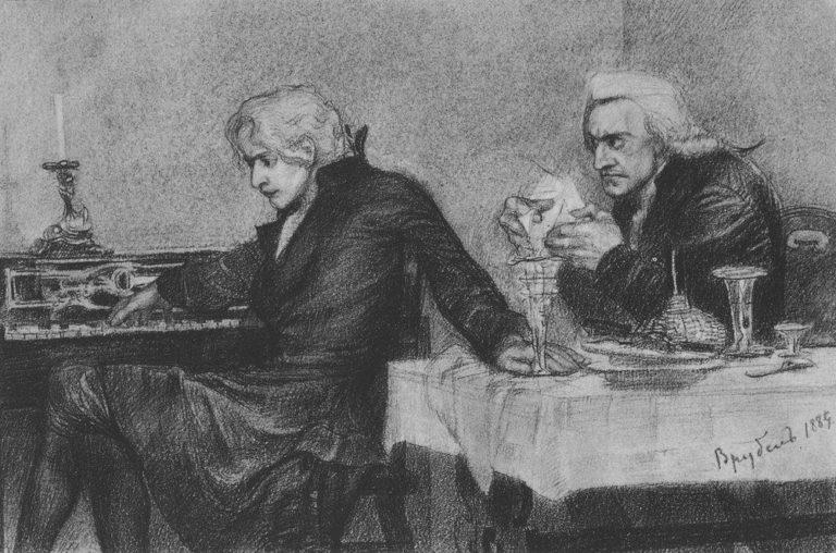 Сальери всыпает яд в бокал Моцарта. 1884