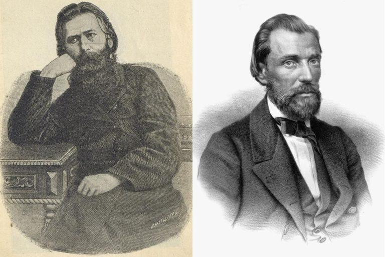 Слева – Иван Захарович Суриков (1841—1880). Справа – Иван Саввич Никитин (1824—1861)