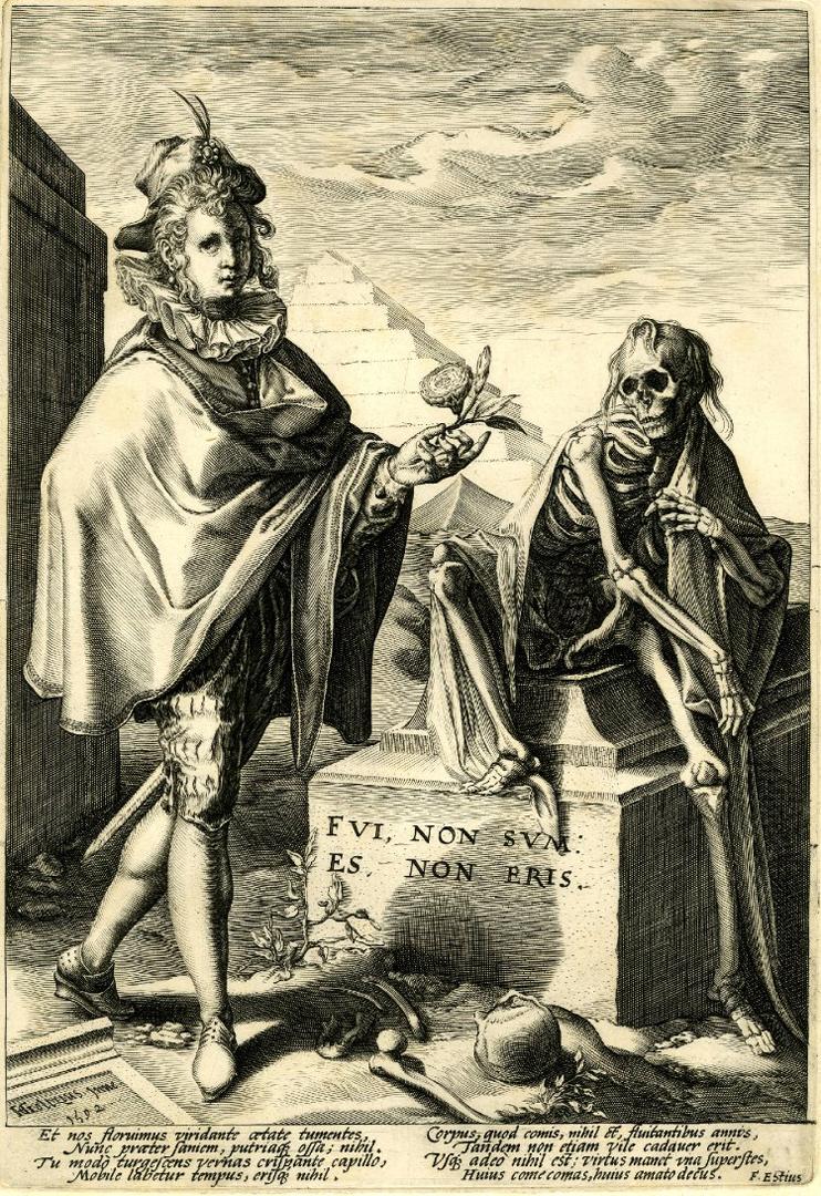 Смерть на могильном камне и юноша с цветком. 1592