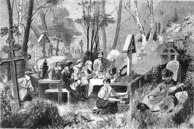 Смоленское кладбище, поминки. 1881