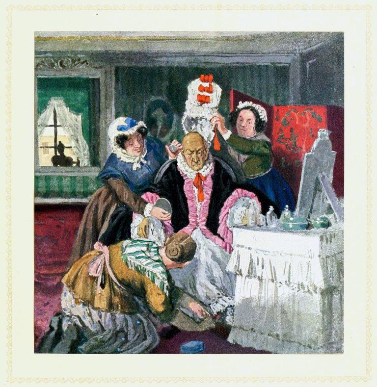 «Старая графиня *** сидела в своей уборной перед зеркалом. Три девушки окружали ее. Одна держала банку румян, другая коробку со шпильками»