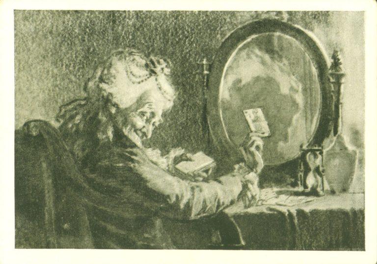 Старая графиня в своей уборной перед зеркалом