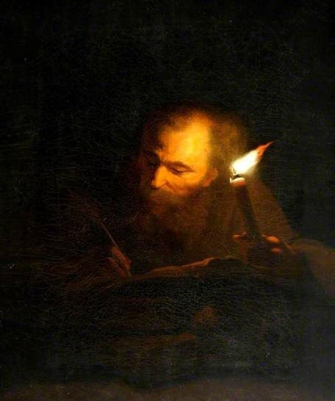 Старик, пишущий книгу при свече. 1663-1706