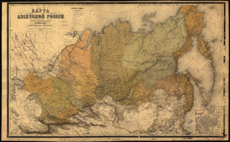 Старинная карта Азиатской части России