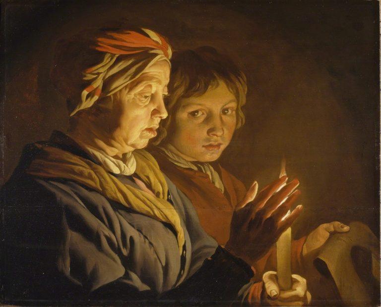 Старуха и мальчик со свечой. 1620-е